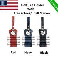 Golf Tee Holder with 4Pcs Wood 1 Free Magnet Ball Marker Hook to Belt golf Bag