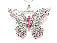 Butterfly Pendant Pink Women's Crystal Necklace New