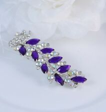 "3.5""  PEACOCK  BROOCH PIN WITH CZ & PURPLE DIAMANTE RHINESTONE CRYSTAL"