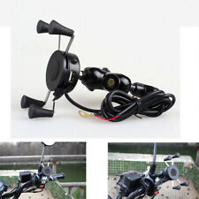 Universal Motorcycle Mobile Phone Handlebar Mount Holder USB Charger Accessories