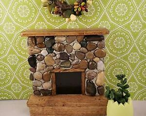 Barbie Size (1:6) Miniature Stone Dollhouse Fireplace with Natural Wood Mantle