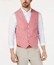 $188 Tommy Hilfiger Men'S Red Modern Fit Chambray Suit Waistcoat Vest Size S