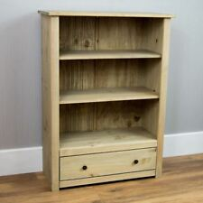 Panama 1 Drawer Bookcase Shelves Solid Pine Natural Waxed Unit Furniture