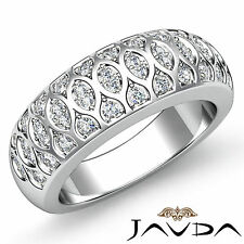 Antique Womens Half Wedding Ring Round Pave Diamond Band 18k White Gold 0.51Ct