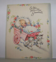 Vintage Greeting Card Art Guild Williamsburg Grandchild Cats Kittens Pulling Bab