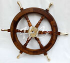 "24"" Maritime Boat Ships Captains Nautical Beach Ship Wheel Wooden Steering Wheel"