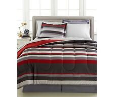 Gray & Red Teen Boys Stripe Reversible Queen Comforter Set (8 Piece Bed In Bag)