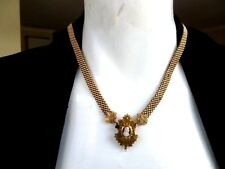 Unmarked Antique Gold Fill Woven Bookchain with Cameo