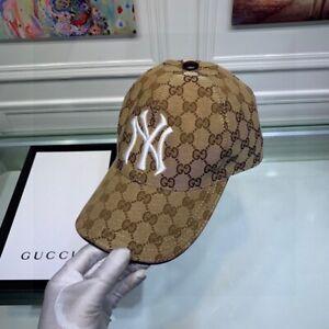NWT GUCCI HAT Khaki, Embroidery NY, CANVAS BASEBALL CAP, SIZE M(ADJUSTABLE)