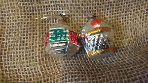 2 Vintage Mercury Glass Christmas Tree Baubles Lantern Cupcake Old pretty cute
