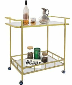 Umi Gold Drinks Kitchen Trolley Serving Bar Cart on Wheels with Glass Shelves