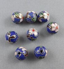 10mm Lapis blue Cloisonne floral beads with Brass/copper-6 pieces
