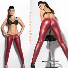 KOUCLA Red Leather Look Full Crotch Zip Leggings - Sexy Erotic Fetish Kinky