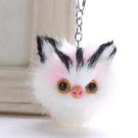 Fashion Lovely Fluffy Keychains Cat Key Chain Pompom Fur Car Keyring Bag Pendant