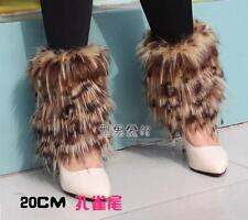 Ladys Leopard leg warmer faux fur dancing shoes cover cloth socks