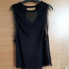 Ladies Black Sleeveless Sheer Blouse/Top Size S