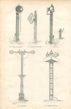 Code des Signaux de Chemin de Fer Sémaphore Signal Carré Disque GRAVURE 1886