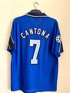 Manchester United 3rd 1997/1998 Blue Shirt Original Short Sleeves L Cantona UCL
