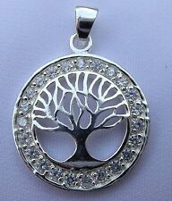 Sterling Silver (925)  Tree  Of  Life  In  Circle  Pendant     !!      New  !!