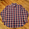 Brooks Brothers 346 Men's XL Blue Red White Plaid Flannel L/S Button Down Shirt