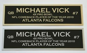 Michael Vick nameplate for signed autographed jersey football helmet photo