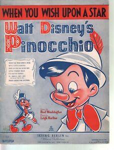 When You Wish Upon A Star 1940 Pinocchio Sheet Music