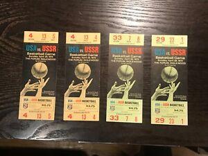 ESTATE ITEM.  4 TICKETS.  USA V. RUSSIA. BASKETBALL 1973. VG. UNUSED