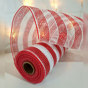 Red & White Candy Cane Deco Mesh Roll 25cm x 9.1m Christmas Wreath Tree Stripes