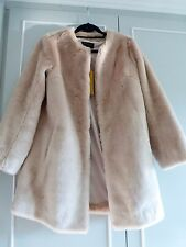 M&S marks and spencer blush pale soft pink mink fur coat jacket 12 14 rrp 149