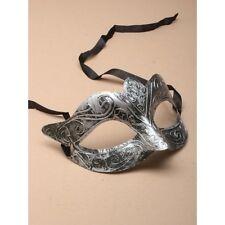 NEW Matt silver brushed metal effect Masquerade Mask Eye Prom Gothic halloween