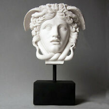 "Greek Medusa Bust Head Sculpture on Base 10.5"" Museum Replica Reproduction"