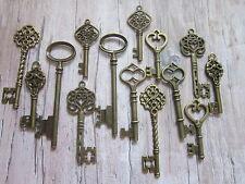 14x large antique bronze skeleton keys wedding vintage fancy pendants charms UK