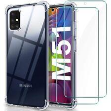 COVER per Samsung Galaxy M51 Silicone TPU Clear Dual Layer + Vetro Temperato 9H