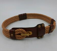 Twine Rope & Leather Decorative Belt Brass Hook & Loop Old-West Lasso Style Look