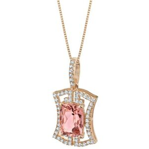3 ct Simulated Morganite Gemstone Pendant Necklace Rose-tone Sterling Silver