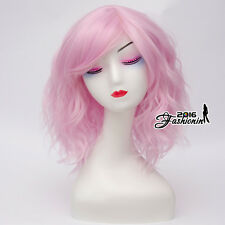 Lolita Light Pink 35CM Medium Side Bang Ombre Curly Cosplay Wig Heat Resistant
