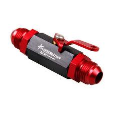 6AN Aluminum Inline Fuel Shut Off Valve Cut Off w/ Cable Lever Black Red & Black