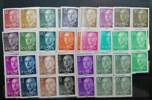 ESPAÑA 1955-1956 SERIE BÁSICA GENERAL FRANCO EDIFIL 1143-1163 BLOQUE DE CUATRO