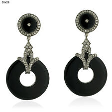 54.78ct Onyx Dangle Earrings Pave Diamond 18k Gold Sterling Silver Jewelry