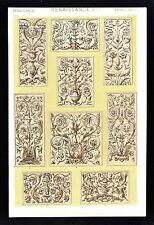 1868 Owen Jones Ornament Print Renaissance No 1 Reliefs Venice Italy San Marcos