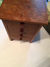 "Antique Miniature 4 Drawer Mahogany Wood Chest 1""Hx6.5""x5"""