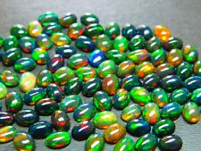 Wholesale Lots 7x5 mm Oval Aaa+ Natural Rainbow Fire Calibrated Black Opal Cabs