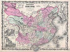 1861 Johnson mapa China Vintage Repro de cartel impresión de arte 2931pylv