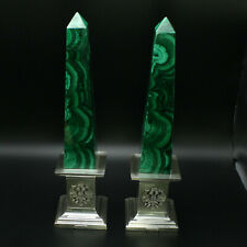 Pair of Faberge Reproduction Obelisks Malachite Mounted on Sterling