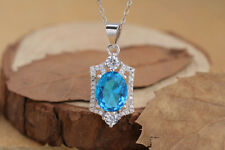 Noble Jewel Topaz With Zirconia 925 Sterling Silver Pendant Necklace