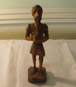 SPANISH CARVED WOOD DON QUIXOTE WRITING 8 3/4 INCHES TALL ONE OF A COLLECTION