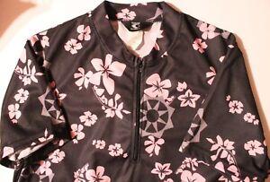 Canari Womens Cycling Jersey Size Large Pink Black Quarter Zip Floral Print