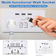 Universal Dual 3USB Electric Wall Power Socket Outlet Adapter Plug Plate UK Plug