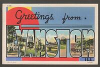[56871] 1941 LARGE LETTER POSTCARD GREETINGS from EVANSTON, ILLINOIS