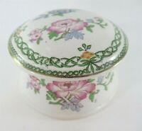 Vintage Celtic Knot Design Porcelain Floral Trinket Box w/Lid